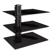 gforce triple dvd shelf wall mount with tempered glass and aluminum