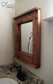 wood mirror frame ideas interior square brown wooden with on