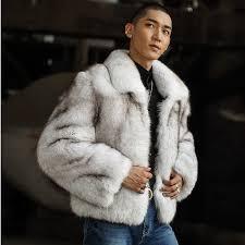<b>Fashion Real Fox Fur</b> Coat Men Short Genuine Leather Fur Jacket ...