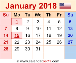 calendar january 2018 template january 2018 calendars for word excel pdf
