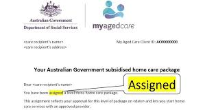 care of letter have you received a letter of assignment from my aged care oxley