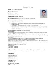 International Biodata Format 18 Biodata Format For Lecturer Post Sopexample