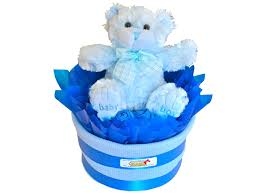 baby boy single tier nappy cake