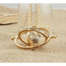 time turner harry potter hermione granger rotating hourglass pendant necklace