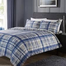 king size shrewsbury multi blue reversible check stripes duvet cover set