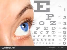 Women Eye Eyesight Test Chart Background Closeup Stock