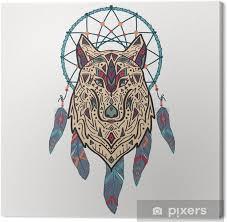 Obraz Vektorové Barevné Ilustrace Kmenové Stylu Vlka S Etnickými Ornamenty A Lapač Snů Indiána Motivy Totem Tetování Design Boho Na Plátně