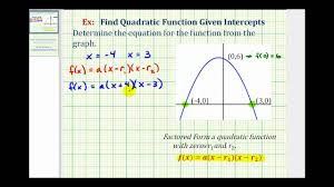 ex find a quadratic function given the intercepts of the graph