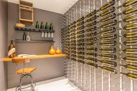 Modern Wine Cellar with Built-in bookshelf, Carpet, VintageView 27 Bottle  Wall Mounted