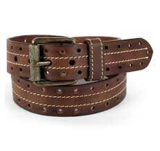 handmade hand colored vintage brown casual leather belt