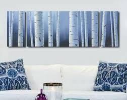 Aspen white painted bedroom Cream Large Panoramic Navy Blue White Wall Art Birch Aspen Tree Canvas Art Set Panel Artwork For Blue Bedroom Living Or Dining Room Freshomecom Navy Blue White Wall Art Birch Aspen Tree Painting Canvas Etsy