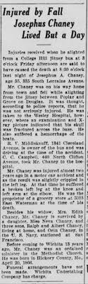 article on josephus Chaney death and fall - Newspapers.com