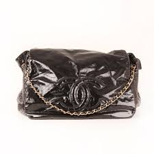 front 1 image of chanel black patent leather bag