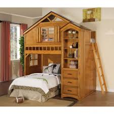 treehouse furniture ideas. Treehouse Twin Loft Bed With Wooden Step Stairs And Three Drawers Storage Animal Print Bedding Greenery Accessories Also Display Open Shelves Furniture Ideas