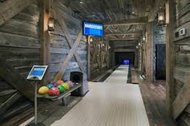 R Bowling Alley Rustic Basement Ideas