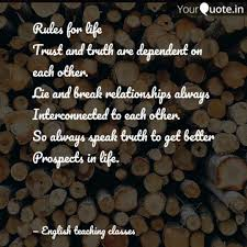 Rules For Life Trust And Quotes Writings By English Teaching