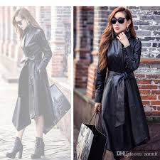 2019 caf209 new black red sheep leather womens trench coats long autumn winter coat women jacket leather from sarmit 51 26 dhgate com