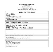 Lawn Care Contract Template Worldtreasury Info