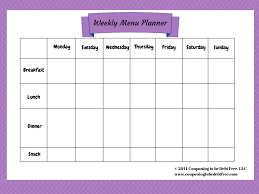 one week menu planner weekly menu planner printable