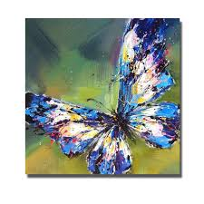 hot handpainted oil painting on canvas art painting modern blue erfly canvas wall art living room