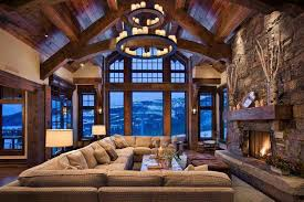 lodge style home design. plenty of seating in this grand lodge interior - the beauty and comfort style home design .