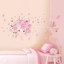 flower flower fairy pink cute baby girl mermaid erfly home decor wall sticker for girls baby kids room wall art diy poster