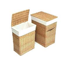 large clothes hamper appealing white fabric liner wicker wood f