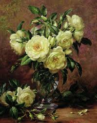 still life painting white roses a gift from the heart by albert williams