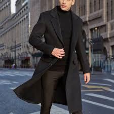 <b>Men's British</b> Style <b>Solid Color</b> Long Coat Fashionable Warm ...