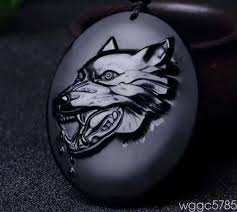 details about hand carved natural obsidian wolf head good luck charm pendant necklace