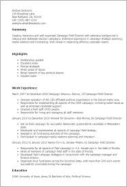 political campaign manager resume