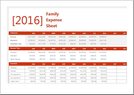 Household Expense Sheet Family Expense Sheet With Monthly Household Budget Word