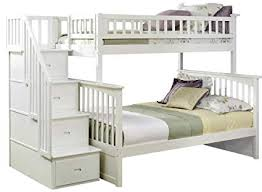 white bunk bed with stairs.  Stairs Columbia Staircase Bunk Bed Twin Over Full White For Bed With Stairs E