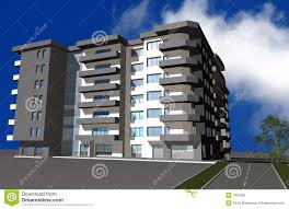 modern residential building.  Building 3D Render Of Modern Residential Building In Modern Residential Building A