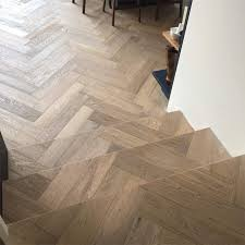 Herringbone hardwood floors Chevron Herringbone Parquet Cladded Onto Stairs The Solid Wood Flooring Company Herringbone Chevron Parquet Engineered Wood Floors
