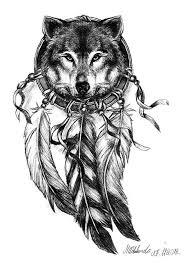 Dream Catcher Wolf Drawing wolf dream catcher tattoo Instead of black and white I would use 2