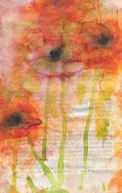 poppies dripping onto an old book page by lisa wright old book pagesold