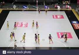A general view of action between Wasps Netball and Loughborough Lightning  during the Vitality Netball Superleague Super Ten match held at Arena  Birmingham Stock Photo - Alamy