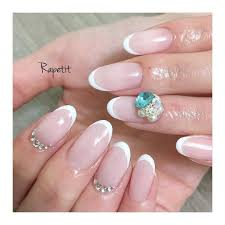 White French Bijou Nail Nails Gel Gelnail Nailart Naildesign