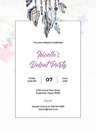 Free Invitation Template Download Debut Invitations Free Boho Debut Invitation Template Download 344