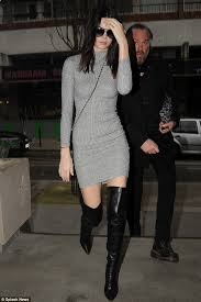 chanel knee high boots. hitting the town: kendall jenner was spotted donning thigh-high black leather boots as chanel knee high