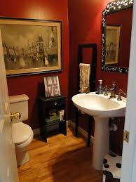 red bathroom color ideas. Canvas Portray On Red Wall Painted Bathroom Color With White Pedestal Washbasin As Well Toilet Design In Small Space Room For Half Bath Ideas