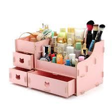 kawaii wood makeup organizer diy storage box 31 19 18cm large capacity make up