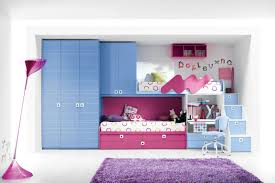 room cute blue ideas: combine blue wardrobe cabinets and appealing bunk beds for cute room ideas with purple carpet
