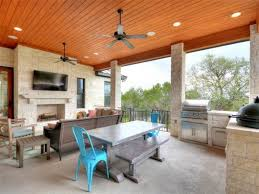Contemporary Porch With Outdoor Kitchen  Outdoor Fireplace In - Outdoor kitchen austin