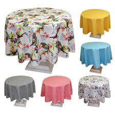 luxury round tablecloth fl poly cotton with yellow polka dot design 63 uk size target