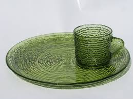 stylish vintage glass plate breathtaking snack tray with cup image best soreno retro pattern set round