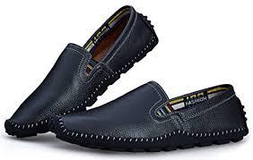 Dadawen Mens Leather Slip On Deck Loafers Comfort Walking