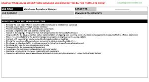 Warehouse Operations Manager Job Description