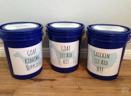 use buckets to organize and conveniently first aid supplies for your homestead animals